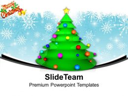 Christmas Presents Party Merry Tree With Balls And Star Powerpoint Templates Ppt Backgrounds For Slides