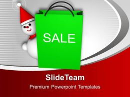 Christmas Sale Object Snowman With Bag Powerpoint Templates Ppt Themes And Graphics 0113