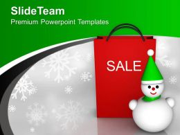 Christmas Sale Shopping Bag Snowman Powerpoint Templates Ppt Themes And Graphics 0113