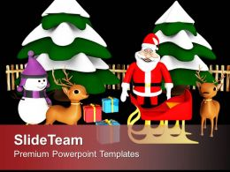 Christmas Scene Santa Ready Giving Gifts Powerpoint Templates Ppt Themes And Graphics 0113