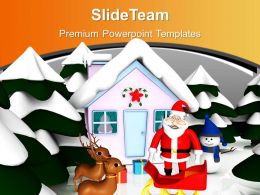 Christmas Scene With Pink Snowmen Hut Reindeer Powerpoint Templates Ppt Themes And Graphics 0113
