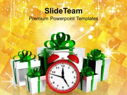 Christmas Sermons Greetings Alarm Clock With Gifts Events Powerpoint Templates Ppt For Slides