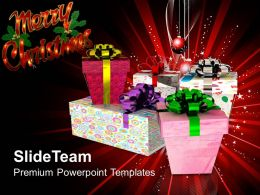 Christmas Time Merry Pile Of Gift Boxes Celebration Holiday Powerpoint Templates