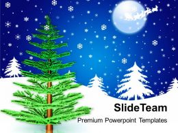 Christmas Time Merry Pine Tree Background Powerpoint Templates Ppt Backgrounds For Slides