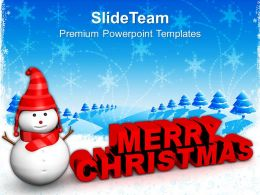 Christmas Time Merry Red Snowman With Holidays Powerpoint Templates Ppt Background