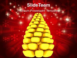 Christmas Tree Carol Golden Pine Holidays Powerpoint Templates Ppt Backgrounds For Slides