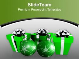 Christmas Tree Carol Green Gift Boxes With Balls Powerpoint Templates Ppt Backgrounds For Slides