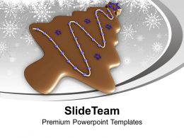 Christmas Tree In Form Of Brown Cookie PowerPoint Templates PPT Backgrounds For Slides 0113