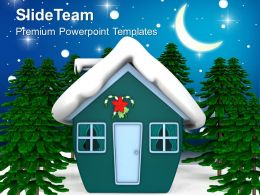 Christmas Tree Party Enchanted House With Snow Holidays Templates Ppt Background For Slides