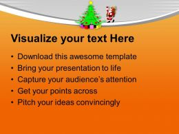 Christmas Tree Pictures Happy Santa Claus Dancing Around Powerpoint Templates Ppt For Slides
