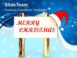 Christmas Tree Pictures Happy Santas Message On Wooden Board Templates Ppt For Slides Powerpoint