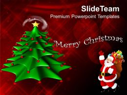 Christmas Tree Pictures Wreath Decorative With Red Background Templates Ppt For Slides Powerpoint