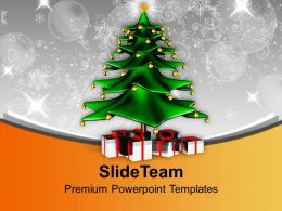 Christmas Tree Surrounded With Gifts Powerpoint Templates Ppt Themes And Graphics 0113