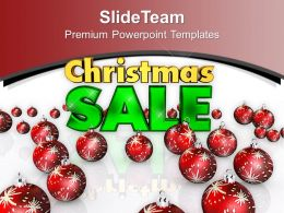 Christmas Tree Vintage Illustration Of Sale And Red Balls Powerpoint Templates Ppt For Slides