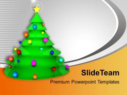 Christmas Tree With Balls And Star Joy Peace Powerpoint Templates Ppt Themes And Graphics 0113