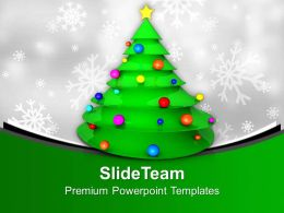 Christmas Tree With Balls And Star Party Time Powerpoint Templates Ppt Themes And Graphics 0113