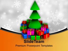 Christmas Tree With Colorful Gifts Celebration Powerpoint Templates Ppt Themes And Graphics 0113