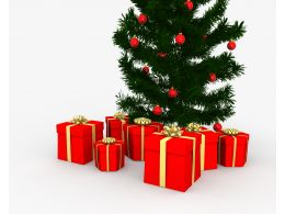 Christmas Tree With Red Gift Boxes For Celebration Stock Photo
