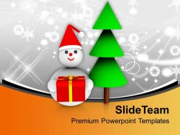 Christmas Tree With Snowman Celebration Powerpoint Templates Ppt Themes And Graphics 0113