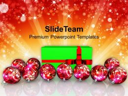 Christmas Wreaths Images Of Beautiful Gift With Balls Holidays Powerpoint Templates Ppt For Slides