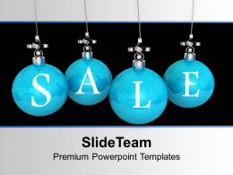 Christmas Wreaths Images Of Blue Balls With Cross Sign Hanging Powerpoint Templates