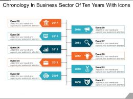 chronology_in_business_sector_of_ten_years_with_icons_Slide01