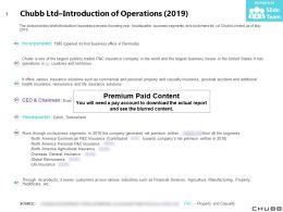 Chubb Ltd Introduction Of Operations 2019