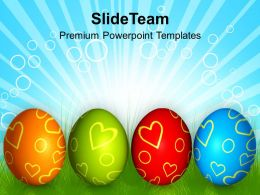 Church Easter Row Of Colorful Eggs Festival Powerpoint Templates Ppt Backgrounds For Slides