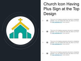 Church Icon Having Plus Sign At The Top Design