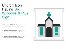 Church Icon Having Six Windows And Plus Sign