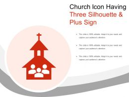 Church Icon Having Three Silhouette And Plus Sign