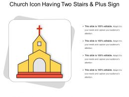 Church Icon Having Two Stairs And Plus Sign