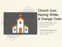 Church Icon Having White And Orange Color