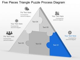 Ci Five Pieces Triangle Puzzle Process Diagram Powerpoint Template