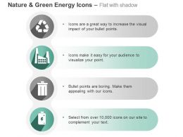 Ci Four Energy Icons For Recycle Factory And Waste With Battery Ppt Icons Graphics