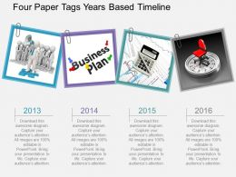 Ci Four Paper Tags Years Based Timeline Flat Powerpoint Design