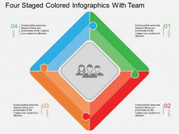 Ci Four Staged Colored Infographics With Team Flat Powerpoint Design