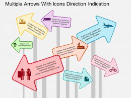ci Multiple Arrows With Icons Direction Indication Flat Powerpoint Design