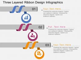 ci Three Layered Ribbon Design Infographics Flat Powerpoint Design