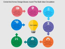 Circle And Arrow Design Boxes Around The Bulb Idea Circulation Flat Powerpoint Design