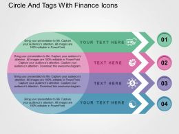 Circle And Tags With Finance Icons Flat Powerpoint Design