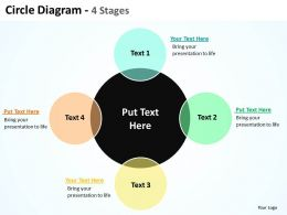 circle diagram 4 stages with big circle in center and surrounding powerpoint templates 0712
