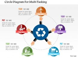 Circle Diagram For Multi Tasking Flat Powerpoint Design