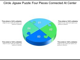 Circle Jigsaw Puzzle Four Pieces Connected At Center