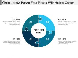Circle Jigsaw Puzzle Four Pieces With Hollow Center