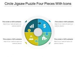 Circle Jigsaw Puzzle Four Pieces With Icons