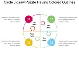 Circle Jigsaw Puzzle Having Colored Outlines