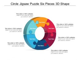 Circle Jigsaw Puzzle Six Pieces 3d Shape