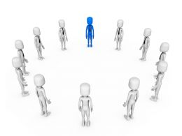 Circle Of 3D Men With One Blue Man Shows Leadership Stock Photo