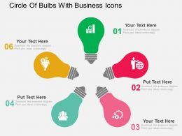 Circle Of Bulbs With Business Icons Flat Powerpoint Design